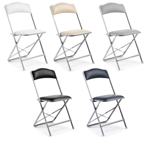Fritz Style Premium Party Bridge Chair Silver Frame Folding Chairs Best
