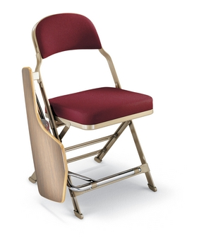 Clarin Enhanced Steel Folding Chair with Luxurious Seat and Back Cushions and Tablet Arm