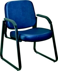 OFM Vinyl Upholstered Guest/Reception Chair with arms and 3  Padded Seat