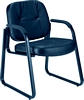 OFM Genuine Black Leather Guest/Reception Chair with Arms