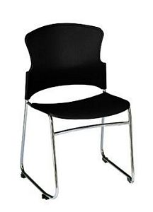 OFM Multi Use Plastic Seat and Back Padded Stack Chair